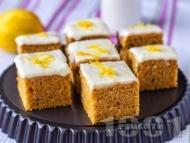 Рецепта Морковен сладкиш без яйца с глазура